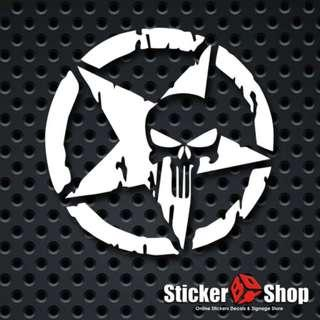Punisher Star Vinyl Cut Decal Sticker