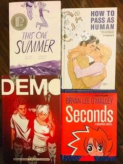 Seconds by Bryan Lee O'Malley; How to Pass as Human by Nic Kelman; Demo by Brian Wood and Becky Cloonan