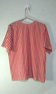 ♥ Red Candy Striped Blouse
