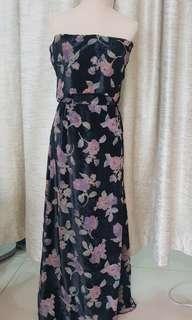 Long off shoulder gown