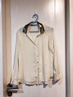 Zara sequin collar top