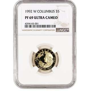 1992-W US Gold $5 Columbus Quincentenary Commemorative Proof - NGC PF69 UCAM