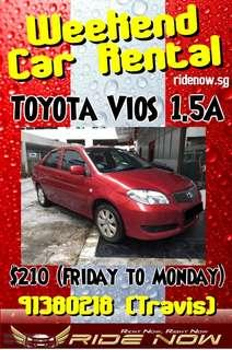 $210 Toyota Vios 1.5A Red Weekend Car Rental Promotion