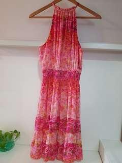ZARA Floral Halter Neck Dress- S (with normal postage)