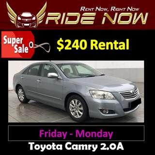 $240 Toyota Camry 2.0A Weekend Car Rental