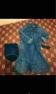Jumpsuit jeans denim ori tebal (jumpsuit only)