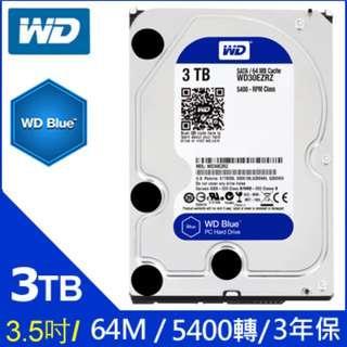 WD [藍標] 3TB 3.5吋桌上型硬碟(WD30EZRZ) 3T