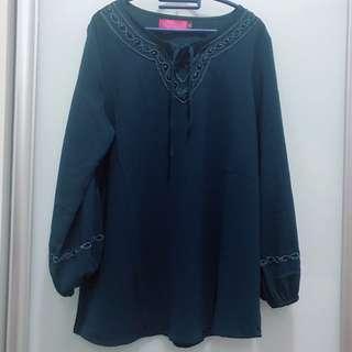 ♥️Preloved - Topgirl Long Sleeve Blouse Blue Turquoise