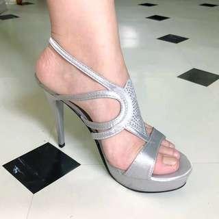 GIBI Silver Heeled Sandals