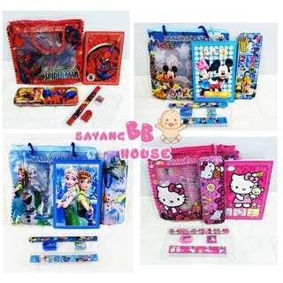 Nursery School Birthday Party Bag  Stationery Set Wallet Pencil Box Frozen/ Hello Kitty /Spiderman/Mickeymouse Set (6 in 1 Set)
