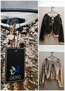 Aere Reversible Sequin Two Color Jacket (Gold&Black) NEW & LIMITED EDITION! (perfect for Xmas New Year event)