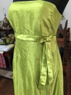 Apple green tube long formal dress