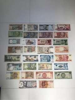 ASSORTED CIRCULATED BANKNOTES LOT OF 30