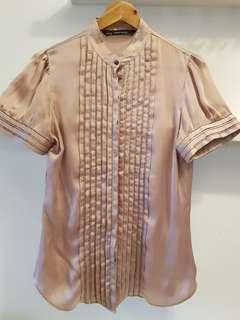 ZARA Shimmer Dusty Pink Shirt- S (with normal postage)