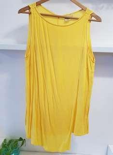 Uniqlo Yellow Sleeveless cotton top- L (with normal postage)