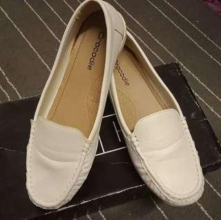 Crocodile Flat Shoe in white #MY1212