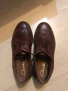Clark's 啡色 真皮 鞋 leather shoes brown