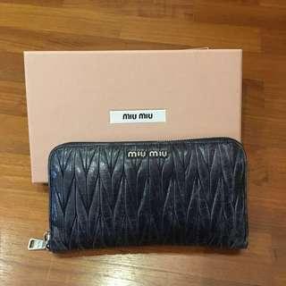 Authentic Miu Miu Matelasse' Lux Zip Wallet