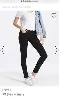 NEW WITH TAGS Levi's 711 Black skinny jeans size 24