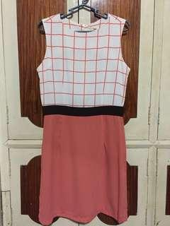 Poetry Dress in Peach with lines on top