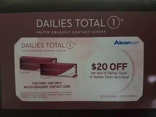 $20 voucher for Dailies Total1 or Dailies Total1 Multifocal contact lens