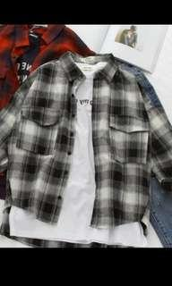 Black Plaid Outerwear Overcoat Flannel