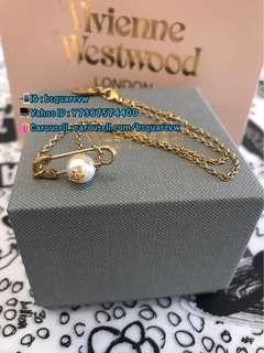 (現貨) 購自英國 經典款 Vivienne Westwood JORDAN 合金 珍珠 扣針 別針 鎖骨鏈 項鍊 頸鏈 項鏈 (保証正貨及全新) 金色