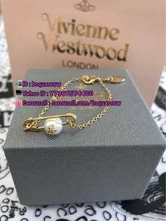 (現貨) 購自英國 經典款 Vivienne Westwood JORDAN 合金 珍珠 扣針 別針 手鍊 手鏈 (保証正貨及全新) 金色