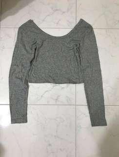 Grey Crop Top (Long-sleeved)