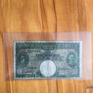 Board Of Commissioners Of Currency Malaya $5