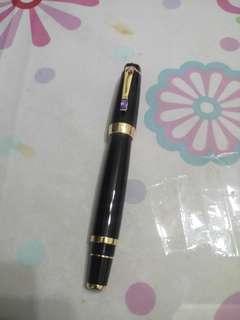 萬寶龍波西米亞 黑色鋼筆金色筆夾筆夾帶白水晶 尺寸12.5公分 原廠盒子 國際保證書 全新正品