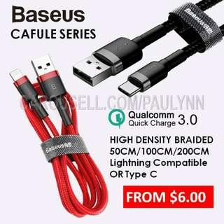 FR $6 Baseus Cafule Iphone Or Type C  Cable