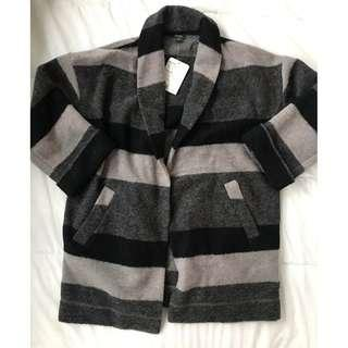 ROOTS Striped Oversized Cardi-Jacket, Size S, NEW