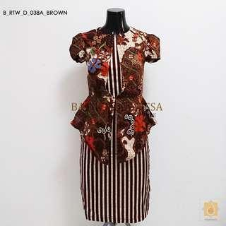 Batik Office dress in Brown