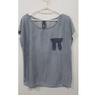 REPRICED! Grey blue top with bunny detail