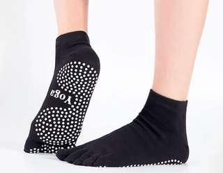 Anti-Slip Yoga/Pilates Toe Socks - Black, Pink