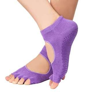Half Toe Non Slip Socks for Yoga / Pilates - Black, Grey & Purple