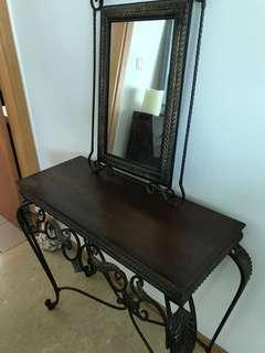 Side table with mirror