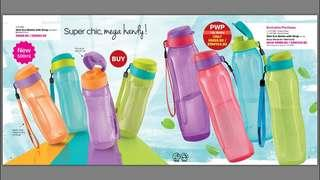 BN Tupperware Slim eco bottle 500ml flip top