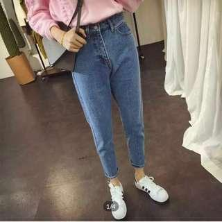 Women Ulzzang Dark Blue Denim Boyfriend Jeans