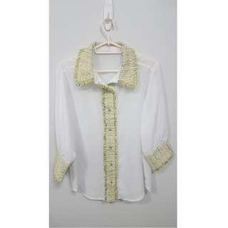 Tweed Detailed Linen Blouse