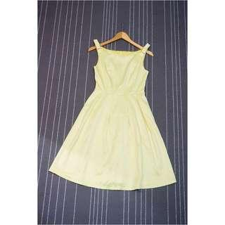 KOREAN BRAND Ribbon on Shoulder Yellow Dress (NEW without TAG)