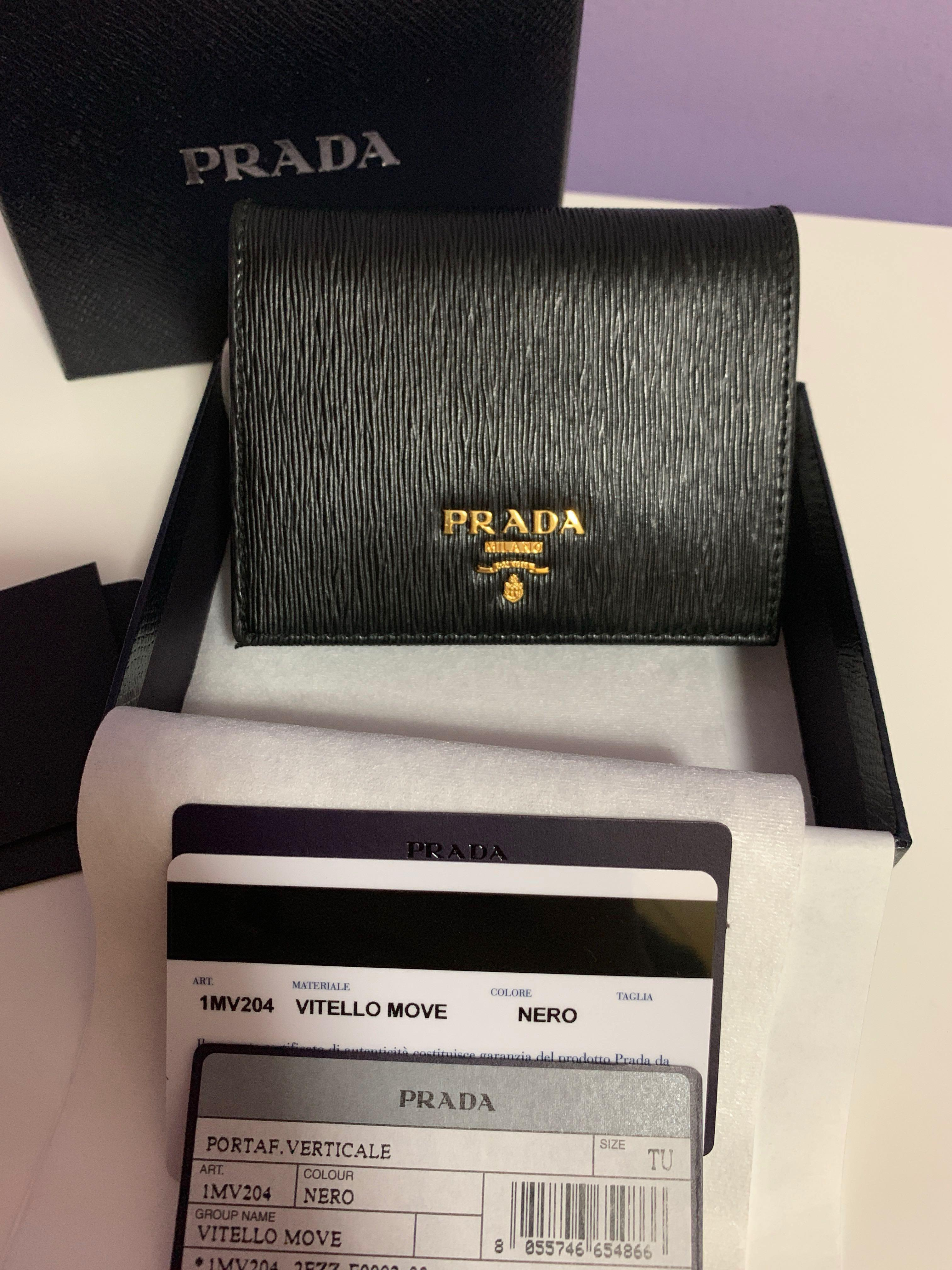 2d81cce7 Pending] Prada Saffiano Leather Short Bi-Fold Slim Wallet, Luxury ...