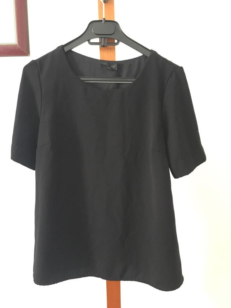 AS NEW Topshop Black Top - Size 8