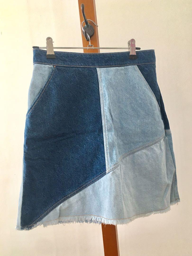 AS NEW Zara Denim Patchwork Skirt - Size S