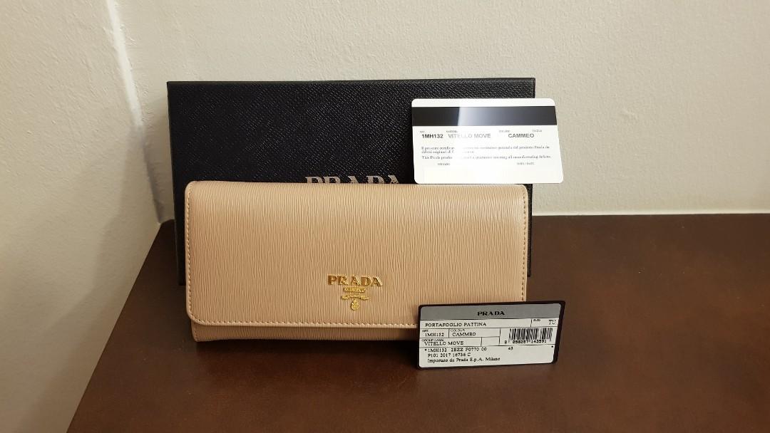 c2defaa0bafd AUTH Prada Saffiano Long Leather wallet Pink Beige BNIB, Luxury ...