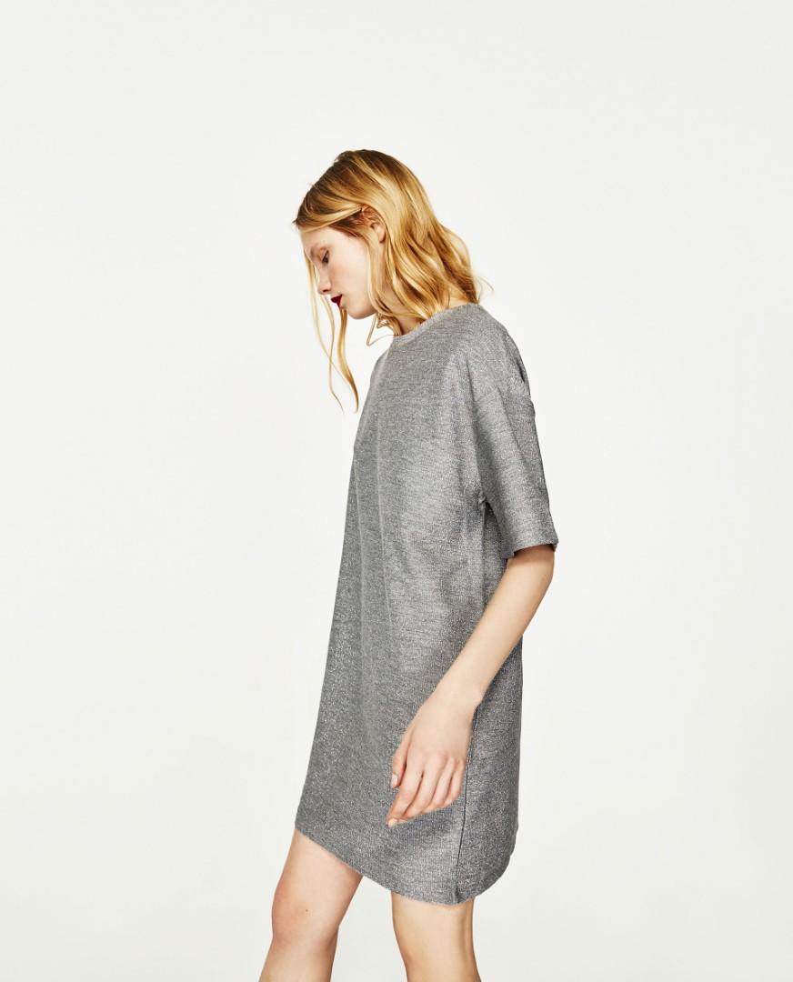 48a84c6672b69 Brand New Zara Shiny Silver Grey Dress (Price Reduced)