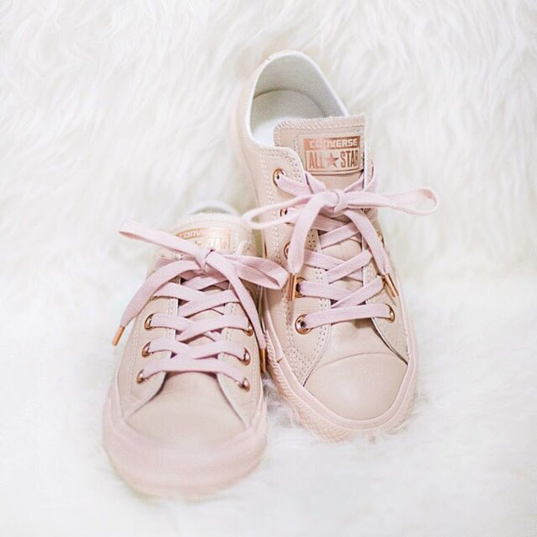 db17063cd3392b CONVERSE ALL STAR LOW LEATHER PASTEL ROSE TAN ROSE GOLD SNEAKERS ...