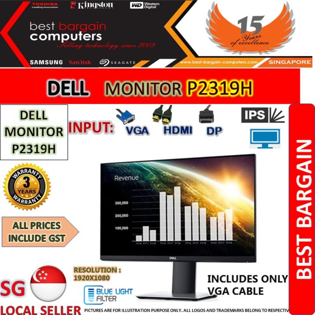 DELL P2319H IPS LED MONITOR- VGA/HDMI/DP - 3 YEARS WARRANTY