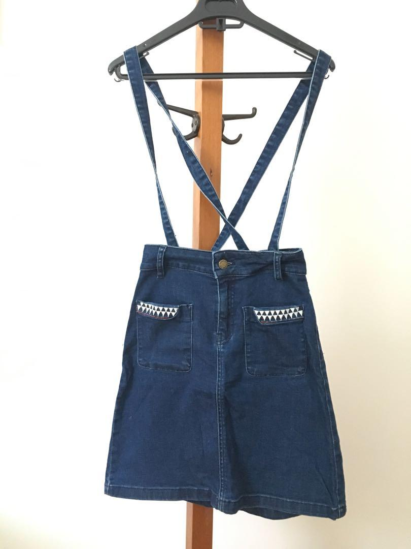 Denim Skirt with Suspenders - Size 8